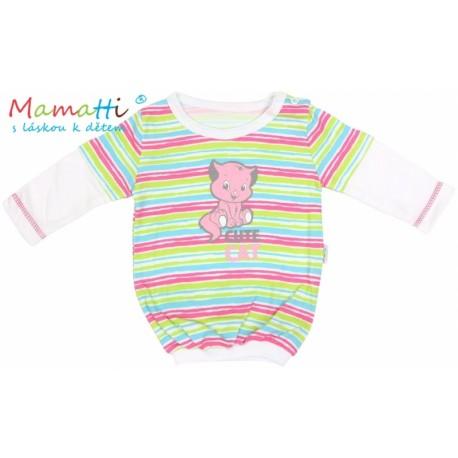 28c36ab8f77 Halenka tričko dlouhý rukáv Mamatti CAT - bílé barevné proužky