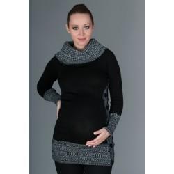 Těhotenský svetřík/tunika Carmen - černá s melirkem