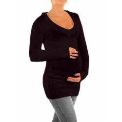 Těhotenský svetřík, tunika s kapucí - černá