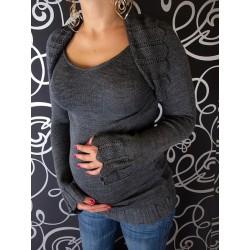 Těhotenský svetřík s bolerkem - grafit