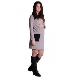 Těhotenské šaty/tunika - tm. šedý melír
