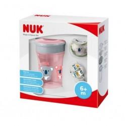 Set NUK Magic Cup Space pro holky růžový 6m+, Růžová
