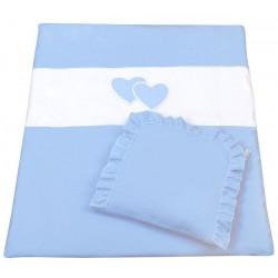 Set do kočárku s výšivkou lux 2D - Srdce - modrá