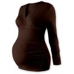 Těhotenské triko/tunika dlouhý rukáv EVA - čokohnědé