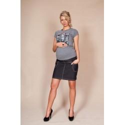 Těhotenské sukně JEANS s kapsami - černá