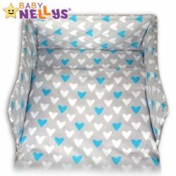 Mantinel s povlečením Baby Nellys ® - Srdíčka tyrkysová/bílá v šedé