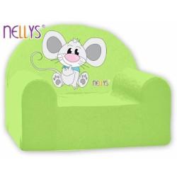 Dětské křesílko/pohovečka Nellys ® - Myška v zeleném