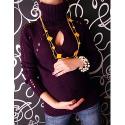 Těhotenská tunika s roláčkem LENKA - fialová