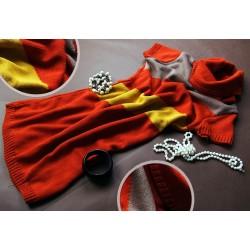 Těhotenská svetrová roláková tunika JULIE - červená-hořčice