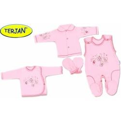 Soupravička do porodnice v krabičce Terjan - Růžový méďa