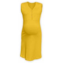 Těhotenská, kojící noční košile PAVLA bez rukávu - žlutá