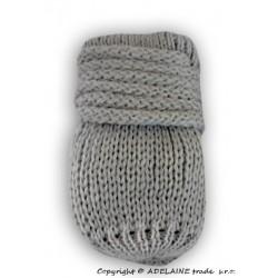 Zimní pletené  kojenecké rukavičky - sv. šedé