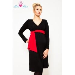 Těhotenské šaty/tunika KALYPSO dl. rukáv - červený losos