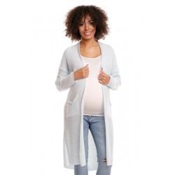 Svetříkový plášť s kapsami MERY - sv. modrý