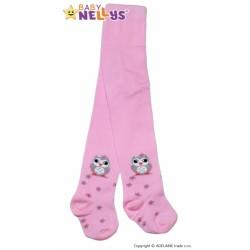 Bavlněné punčocháče Baby Nellys ®  - Sovička růžové