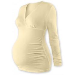 Těhotenské triko/tunika dlouhý rukáv EVA - latte