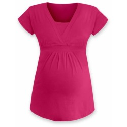 Kojící, těhotenská tunika ANIČKA krátký rukáv - sytě růžová