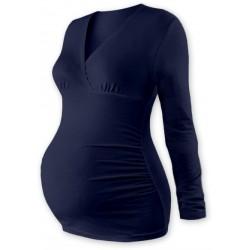 Těhotenské triko/tunika dlouhý rukáv EVA - tm. modré