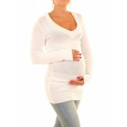 Těhotenský svetřík, tunika s kapucí - bílá