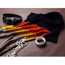 Těhotenská svetrová roláková tunika JULIE - černá-červená-horčice