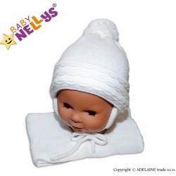 Zimní čepička s šálou - s imitací volánku - bílá