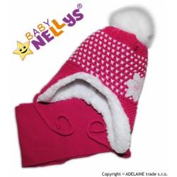 Zimní čepička s kožíškem a šálou LILI - sytě růžová,fuksijová