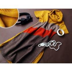 Těhotenská svetrová roláková tunika JULIE - hořčice-černá-šedá