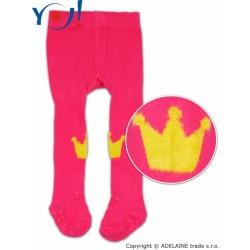 YO ! Bavlněné punčocháčky ABS na chodidle i nártu - malinové s korunkou