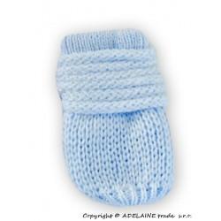 Zimní pletené  kojenecké rukavičky - sv. modré