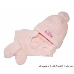 Sada - čepička, šál a rukavičky Medvídek - sv. růžová