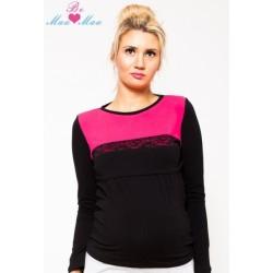 Těhotenské triko/halenka Ivana - černá/růžová, KOJÍCÍ