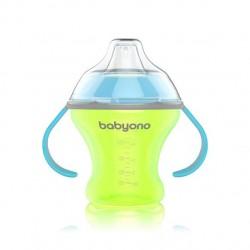 Nekapající hrneček s měkkým pítkem Baby Ono - zeleno/modrý