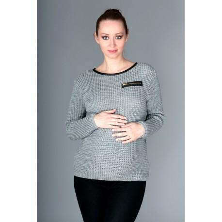 Těhotenský svetřík Molly s ozdobným lemem - šedý