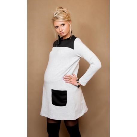 Těhotenské šaty/tunika LIZZA dl. rukáv - šedý melírek/černé