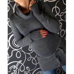 Těhotenská roláková tunika s páskem - grafit