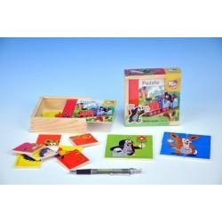 Skládačka Puzzle pro nejmenší Krtek dřevo 16ks v dřevěné krabičce 10m+
