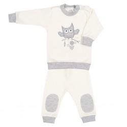 2-dílná kojenecká souprava New Baby Owl béžová, Béžová, 56 (0-3m)