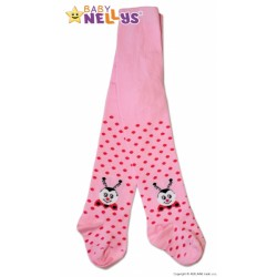 Bavlněné punčocháče Baby Nellys ®  - Beruška růžové s puntíky