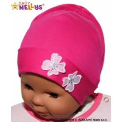 Bavlněná čepička Kytičky Baby Nellys ® - sytě růžová