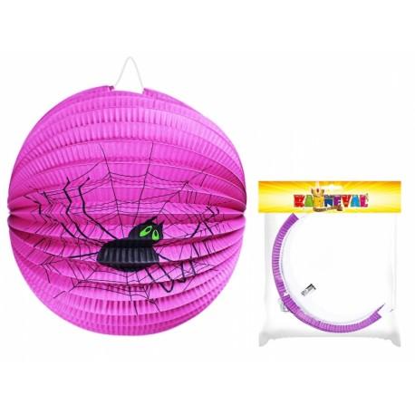 Lampion fialo s pavoukem Halloween koule, 25cm