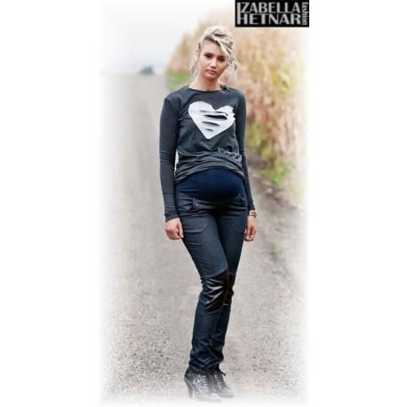 Těhotenské kalhoty/jeans NANA  - granát jeans