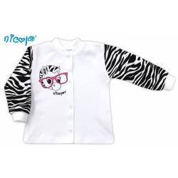 Bavlněná košilka NICOL ZEBRA - bílá/černobílý rukáv
