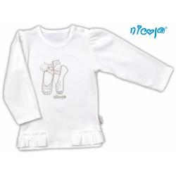 Bavlněné tričko/halenka NICOL BALETKA dlouhý rukáv - smetanová