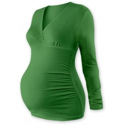 Těhotenské triko/tunika dlouhý rukáv EVA - tm. zelené