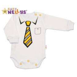 Body dlouhý rukáv Baby Nellys® se žlutou kravatou - bílé