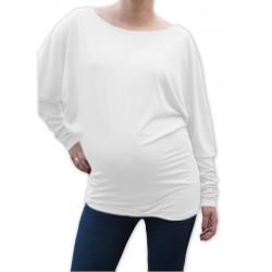 Symetrická těhotenská tunika - bílá