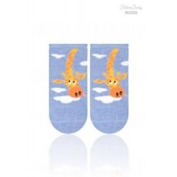 Kojenecké ponožtičky CANDY - Žirafka - tm. modrá