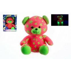 Medvídek svítící ve tmě 21cm růžový/zelený plyš v krabici