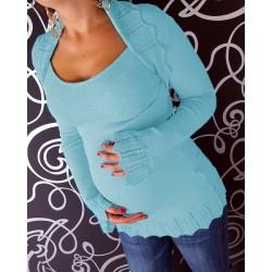Těhotenský svetřík s bolerkem - sv. modrý