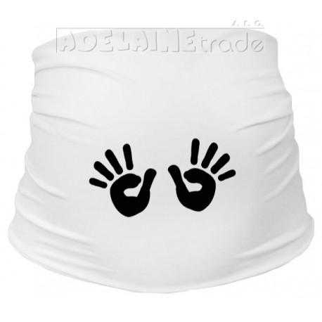 Těhotenský pás s ručičkami - bílý